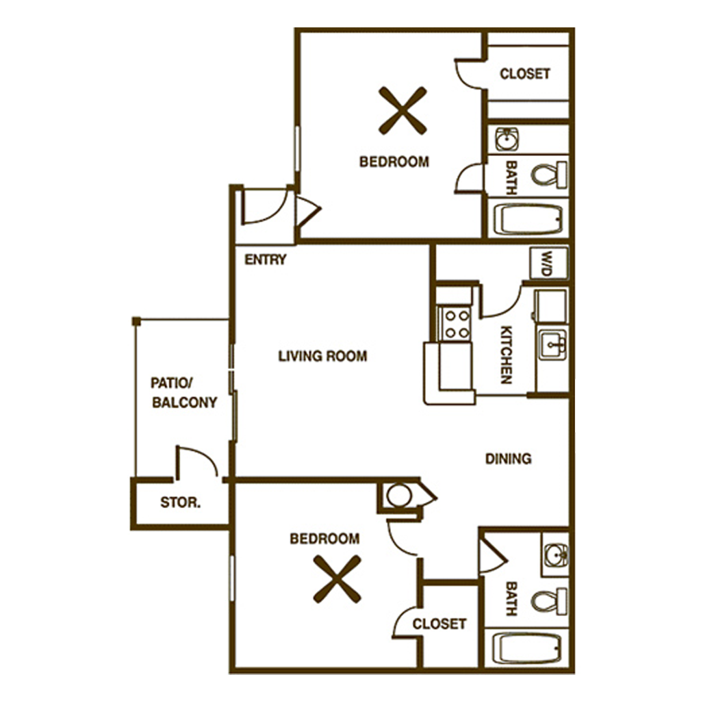 2 Bedroom Floor Plan with Space Between