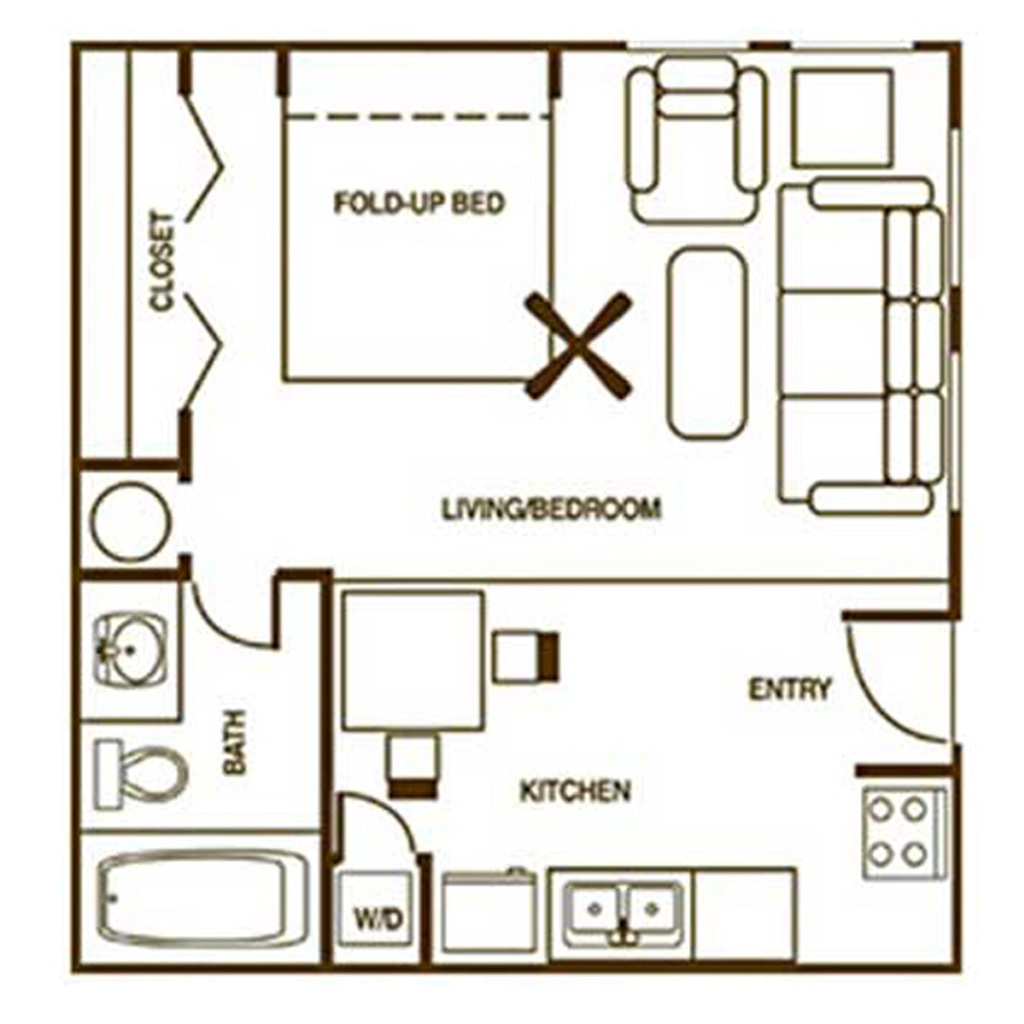 Studio Apartment Floor Plan with Fold Up Bed